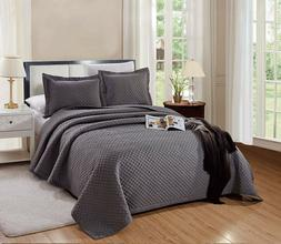 CAL King Size Naples Quilt Solid Dark Grey / Gray Microfiber