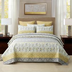 Queen / King Quilt Set 3 Piece Star Printed Lightweight Beds
