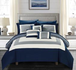 Queen or King Comforter Set Bedding Navy Blue Bedspread Reve
