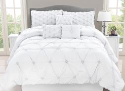 Queen or King Comforter Set Bedding White Elegant Romantic B