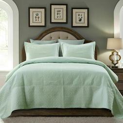 Quilt Set Stitched Embossed Pattern Bedspread Microfiber Lig