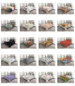 Quilted Bedspread Set Printed Coverlet by Ambesonne