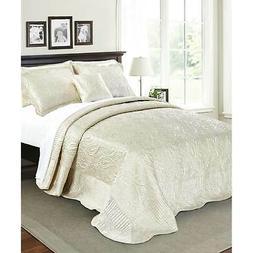 Serenta Quilted Satin 4-piece Bedspread Set Champagne Queen
