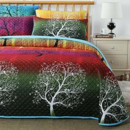 Rainbow Tree Bedspread Coverlet Quilt Set: 1 Quilt & 2 Pillo