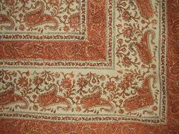 "Rajasthan Block Print Paisley Tapestry Cotton Bedspread 108"""