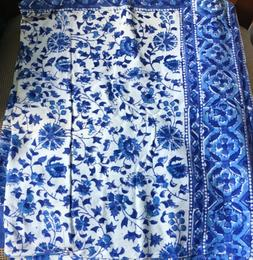 """Rajasthan Print Tapestry Cotton Spread 106"""" x 70"""" Twin Blue"""