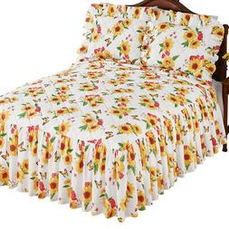 Realistic Quilt-Top Sunflower and Butterfly Bedspread with R