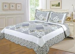 ALL FOR YOU Reversible Bedspread, Coverlet,Quilt  *105* Gray
