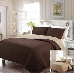 Fancy Linen Reversible Oversize Luxury Embossed Bedspread As