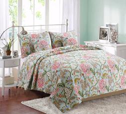 Riemer Floral 100% Cotton Reversible Quilt Set, Bedspread, C