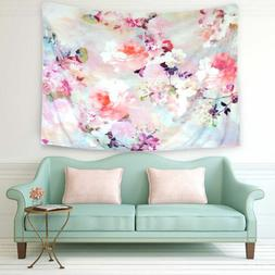 Romantic Flower Tapestry Printed Wall Hanging Chic Bedspread