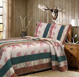 Rosa Stripe 100%Cotton Queen-Size Quilt Set, Bedspread, Cove