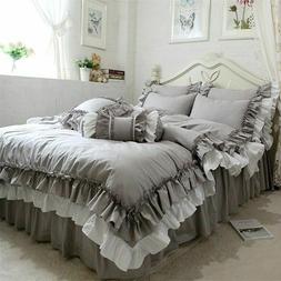 Ruffle Duvet Cover Bedding Set Gray White Bedroom Warm Soft