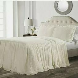 Lush Decor Full Size  Ruffle Skirt Bedspread Ivory  Farmhous