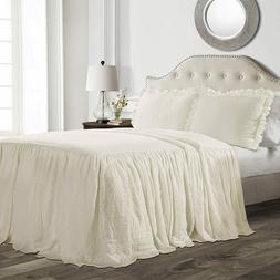 Lush Decor Ruffle Skirt Bedspread Ivory Shabby Chic Farmhous