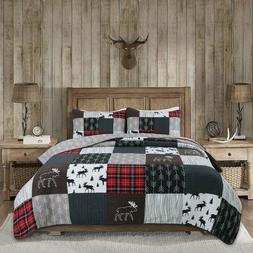 Rustic Lodge Moose Cabin Real Patchwork Reversible Quilt Set