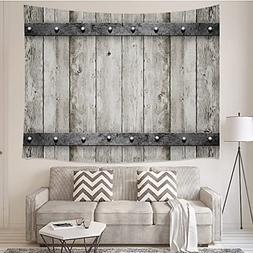 JAWO Rustic Wooden Plank Tapestries Gray Wood Barn Door Bedr