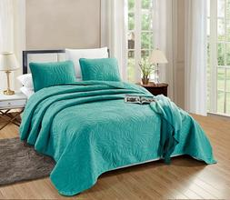 Savannah Quilt Turquoise Blue Microfiber OverSize CAL KING B