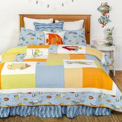 Sea Life Full/Queen Cotton Coastal Quilted Bedspread +Two Sh