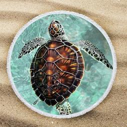 """Sea Turtle Beach Towel Blanket, 59"""" Round Tassels, Microfibe"""