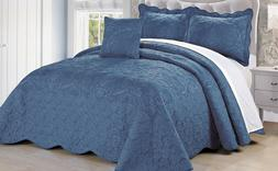 Serenta Damask 4 Piece Embroidery Coverlet Set with Floral C