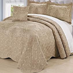 Serenta Damask 4 Piece Bedspread Set, Queen, Incense