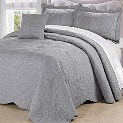 Serenta Damask 4 Piece Bedspread Set, King, Ash Gray