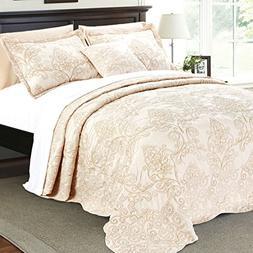 Serenta Damask 4 Piece Bedspread Set, King, Salmon