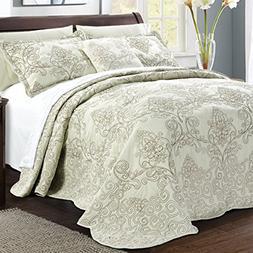 Serenta Damask 4 Piece Bedspread Set, King, Light Green