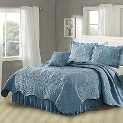 Serenta Damask 4 Piece Bedspread Set, Queen, Forget Me Not