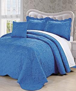 Serenta Damask 4 Piece Bedspread Set, King, Palace Blue