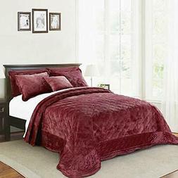 Serenta Super Soft Microplush Quilted 4 Piece Bedspread Set,