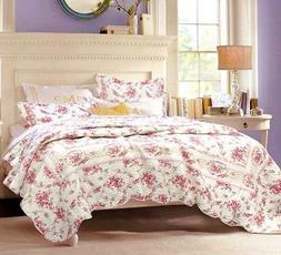 Shabby Chic Vintage Rose 100% Cotton Quilt Set, Bedspread, C