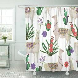 Emvency Shower Curtain Peru Watercolor Painting with Llamas