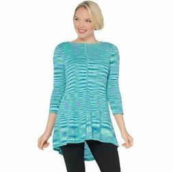 Susan Graver Size 3X Turquoise Cotton Rayon Space Dye Lightw