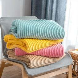 Soft Summer Throw Blanket Faux Fur Stripped Flannel Bedsprea