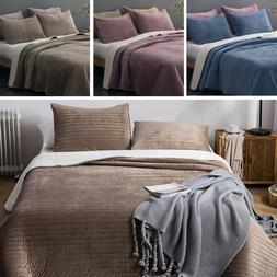Soft Velvet Sherpa Flannel Fleece Bedding Quilt Coverlet Bed