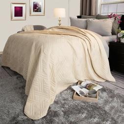 Solid Color Quilted Lightweight Blanket Comforter Choice of