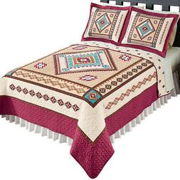 Southwest Bedding Reversible Diamond Aztec Quilt