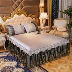 Summer Cooling Bed Skirt Lace Bedspread Set King Bed cover L