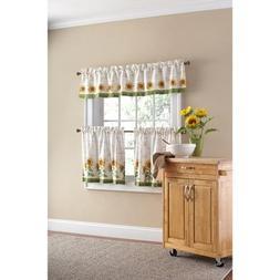 Mainstays Sunflower 3-piece Kitchen Curtain Set
