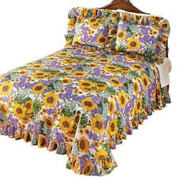 Sunflower and Lavender Plisse Ruffled Bedspread