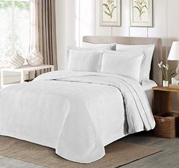 "3-piece Super Soft Oversized 100""x106"" Plaid Bedspread Cover"