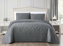 Tesla 3pc Coverlet Set Charcoal Gray Bedspread Floral Quilte