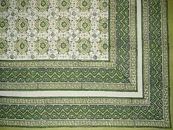 "Tile Block Print Tapestry Cotton Spread 106"" x 88"" Full Gree"