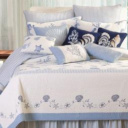 Treasures By the Sea Blue+White Twin Size Quilt Seashore Qui