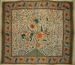"""Tree of Life Tapestry Cotton Bedspread 104"""" x 88"""" Full Beige"""