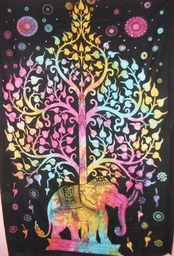 Tree of Life Elephant Cotton Tapestry Bedspread Wall Hanging