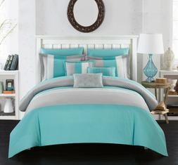 TURQUOISE COMFORTER SET Bed in a Bag Bedspread Bedding Pillo