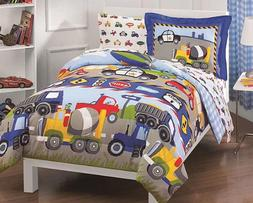 Twin Comforter Set Truck Tractors Kids Bedding Bedspread Boy